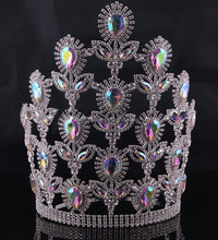 Fashion silver colored miss world crown and tiara