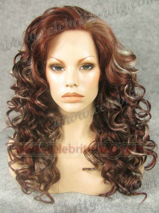 Medium Length Curly Red with Blonde Highlighted Synthetic Lace Front Wig