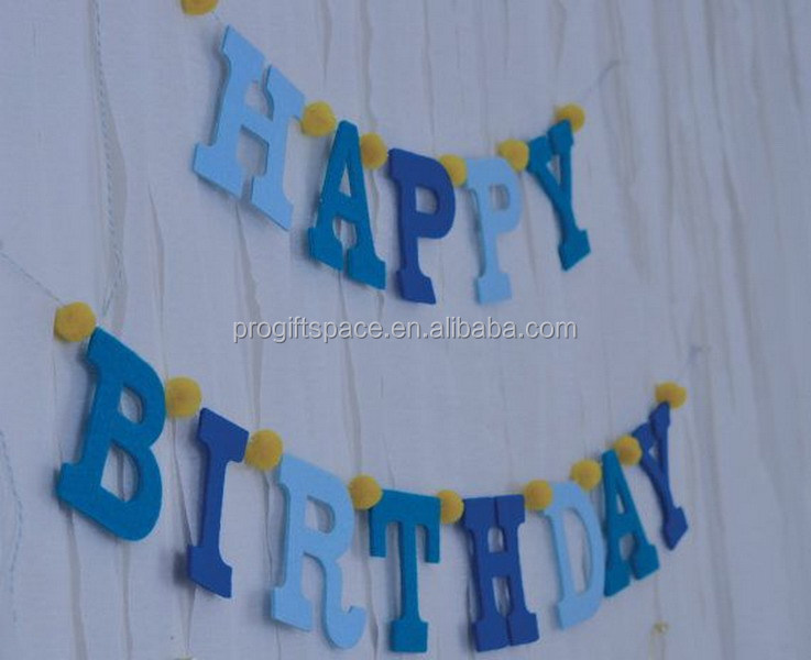 2018 new fashion hotsale handmade wholesale cheap custom fabric letters craft party supply kid decor felt happy birthday banner