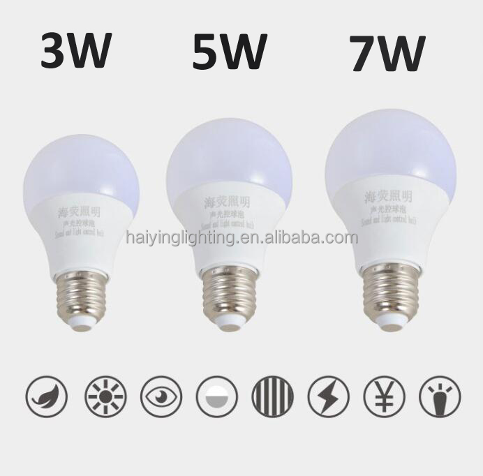 Energy Saving e27 5w led bulb sound and light control auto led bulb Stairwell led bulb manufacturer