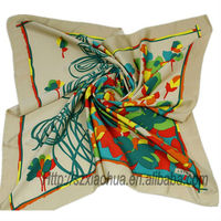 XH-927 New fashion silk printed square scarf/printed silk scarf custom