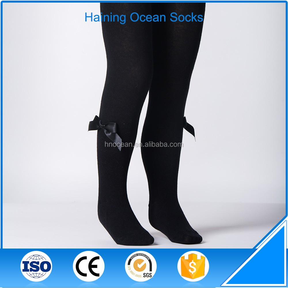 Black bow child sexy girls tights pantyhose custom fitness leggings