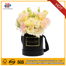 Luxury round cylinder flower packaging paper box for flower with hat