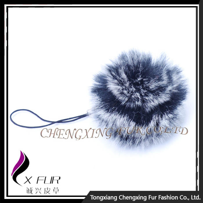 CX-A-54G Rabbit Fur Mobile Phone Strap Promotional Ring Fur Keychain