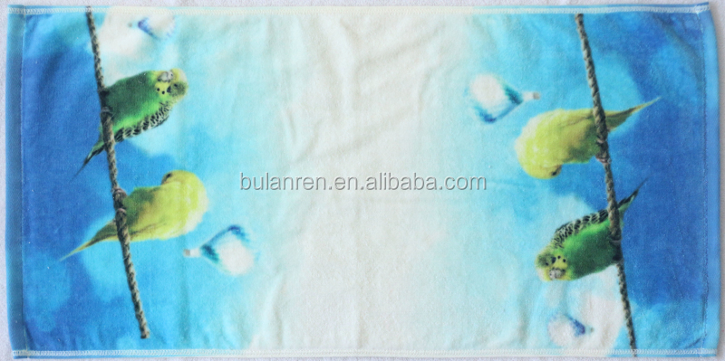 Custom 100% cotton velour 70*140 bath towels with early bird for kids adult