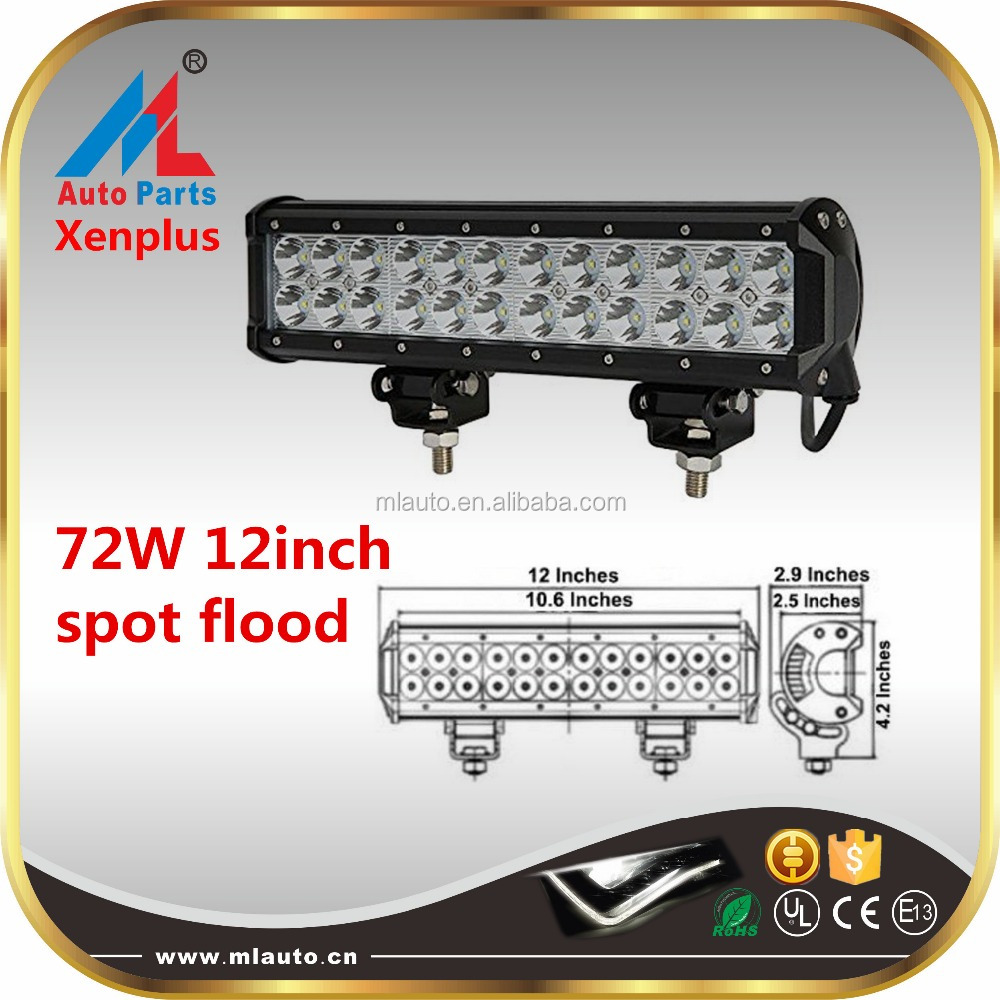 Auto acceories head lamp 72w led bar light 12 inch 12v pick up LED light bar offroad boat jeep 4wd bar light