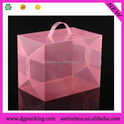 red color plastic packaging transparent PET shoe box&big shoes packaging suitcase