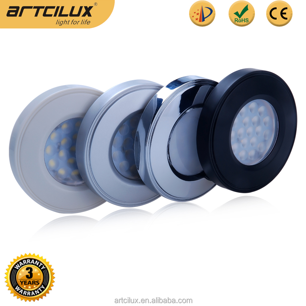 12 Volt LED Puck Lights & Kits recessed or surface mounted with the included surface mount housing