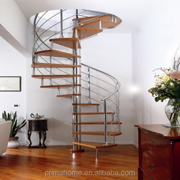 Hot selling high quality house wooden spiral stair case
