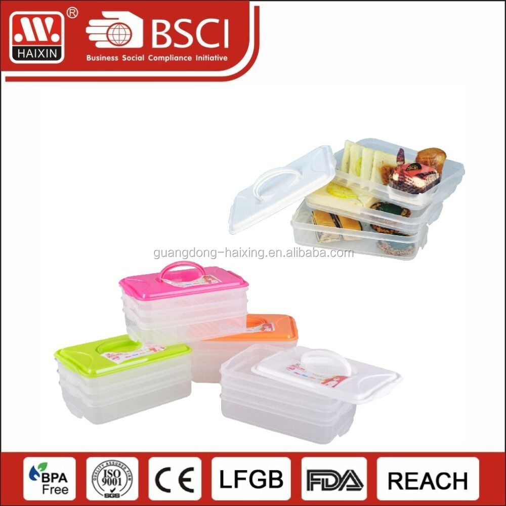 Online shopping customized storage cupcake container plastic container with different layers box with lock