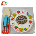 Wood birthday cake sets toy with fruits fittings and candle