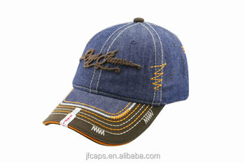 embroidery south america style denim and cotton sport baseball hats and caps with broken visor