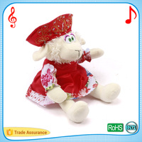 Safety material lovely accordion sheep russian songs plush toys clear sounder musical cuddle pets