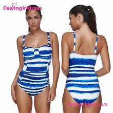2017 wholesale Blue and white stripes one piece women swimwear
