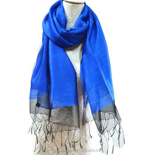 Fashion transparent double-layer 100% silk tassel scarf for lady