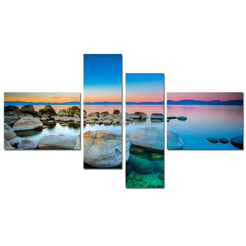 Rock Beach Canvas Wall Art/Photography Canvas Print/Landscape Wall Art for Home
