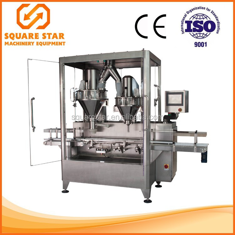 High precision dual nozzle powder bottle filling machine