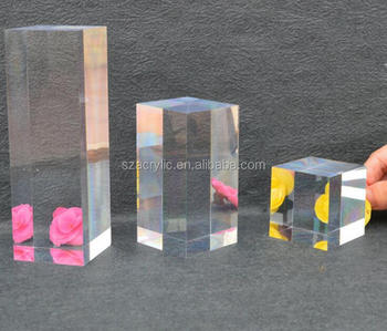 transparent acrylic solid display cube/logo block