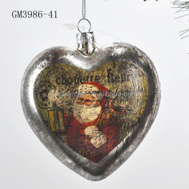 Classical glass christmas decorations with santa claus