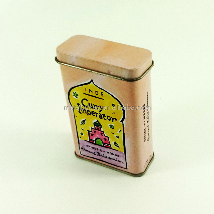 rectangular band aid tin box with hinged