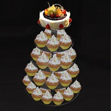 5 Tier Crystal Acrylic Round Cupcake Stand Wedding Birthday Display Cake Tower