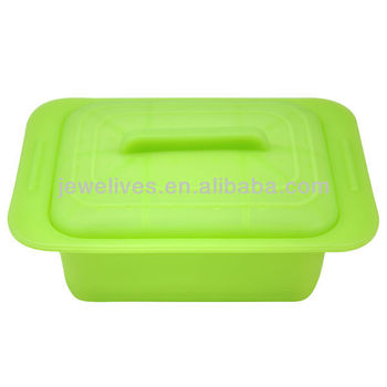 Durable silicone microwave collapsible bowl with cover