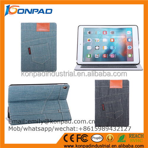 fashion jean clothes tablet case for ipad pro 12.9 case