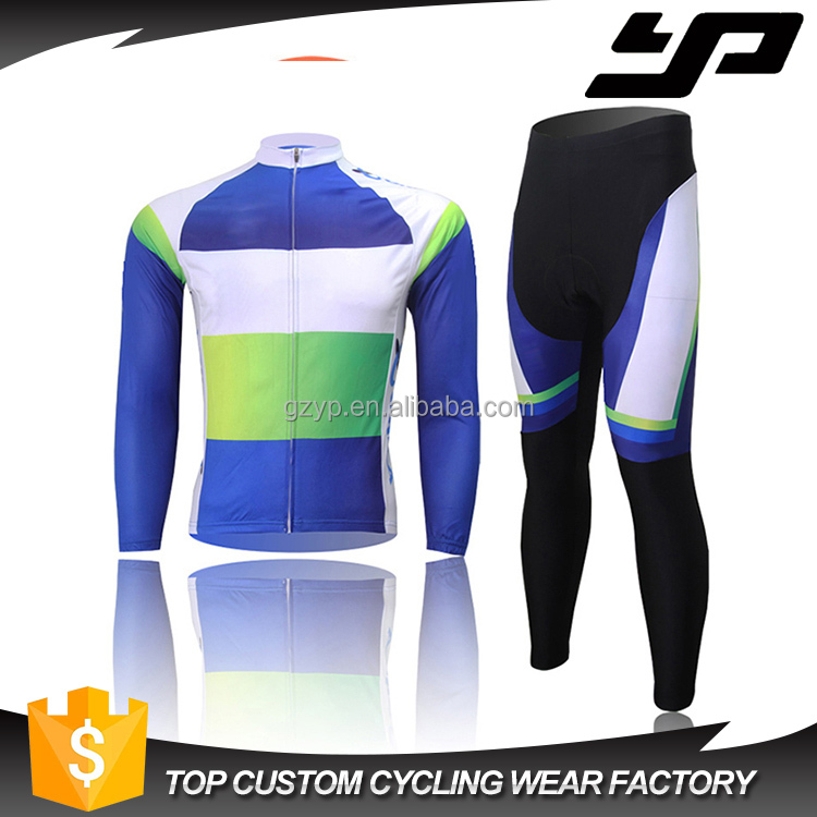 Sublimation printing china custom cycling jersey breathable long sleeve cycling jersey and pants set