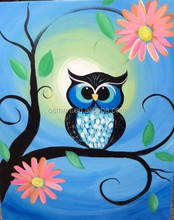 the beautiful cute with flowers on the branches owl 100%handmade classic decoration oil painting in canvas