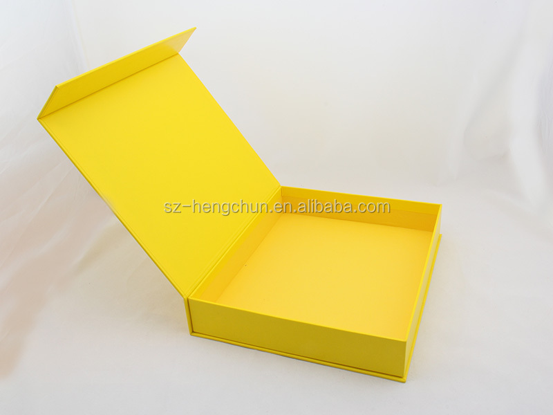 high quality yellow cardboard folding magnetic gift pacakging box