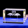 custom creative 3D laser engraving Swan couple crystal paperweight wedding gift