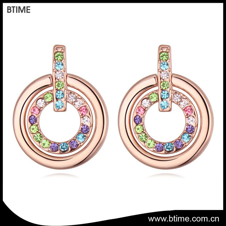 Double circle fashion earrings with rhinestone stud earrings for gift