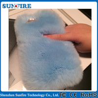 Luxury fur mobile phone case, Luxury fur leather case for iphone 5, rabbit fur case for iphone 5