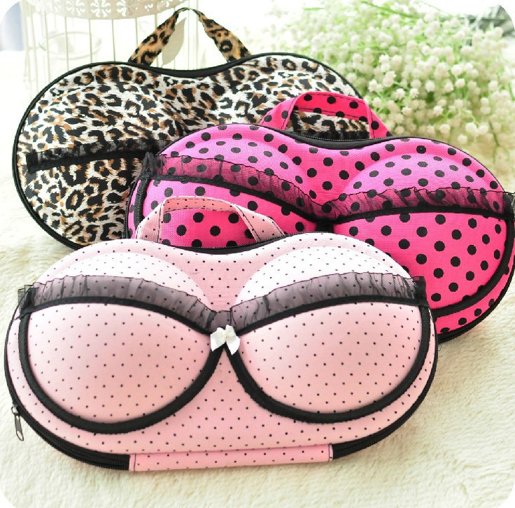 Pretty Leopard Print EVA Case Clothes Travel Storage Shaped EVA Bra Case With Handle