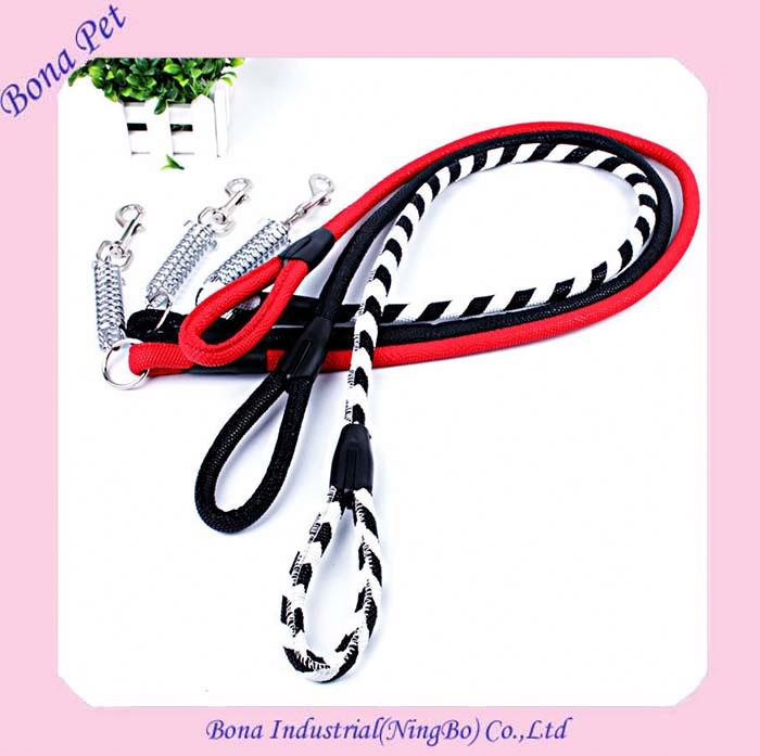 New Style European Heated Safe Buffer Spring Genuine Leather Dog Leashes