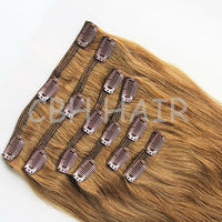 Beatuiful human hair extensions remy clip in hair extension
