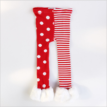 Fuzzy girls pants Christmas kids striped dot jacquard baby leggings