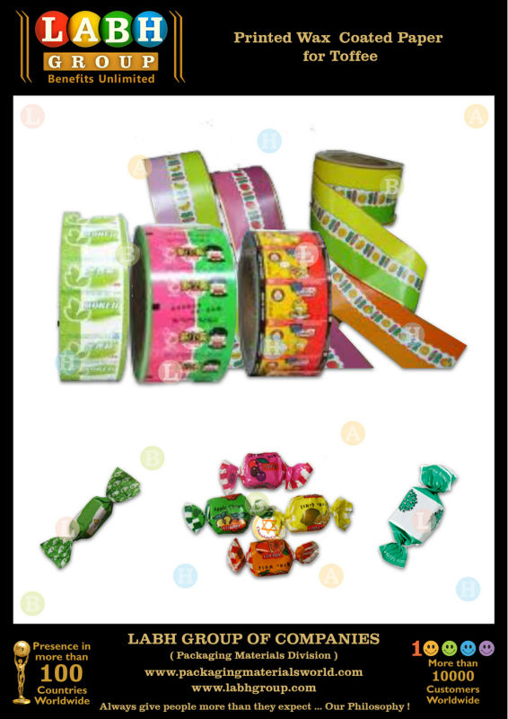 Printed Wax Coated Paper for Toffee Packing