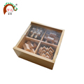 Wood brain teaser puzzle toys 4 in 1 set with box