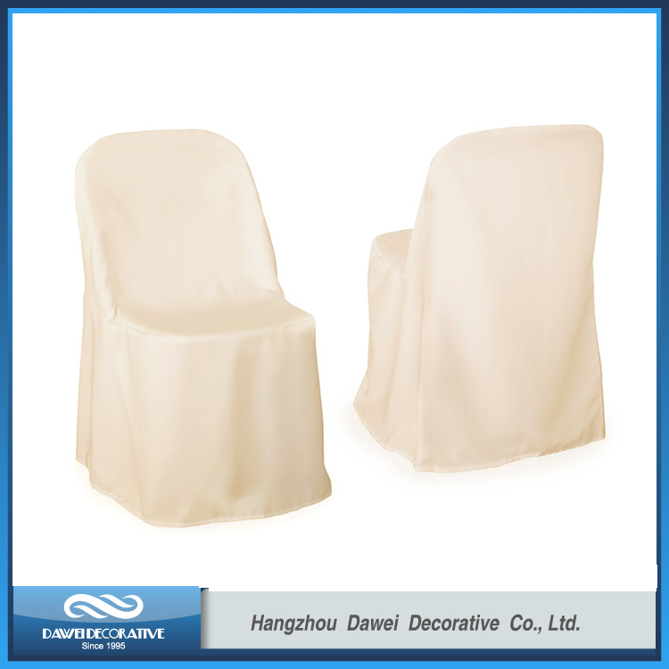 Comfortable Ivory Polyester folding Chair Cover for Plastic Chair