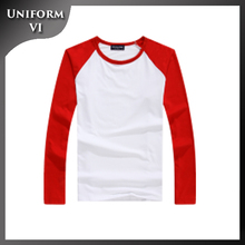 Popular salable long sleeve lycra round collar well-fitting raglan blank t-shirt with self-designed logo