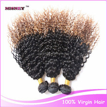 Unprocessed Jerry Curl Cheap human hair weaving extensions 100g/pc 10-30inch Strong Weft Ombre Color T1B/30 Indian Virgin hair
