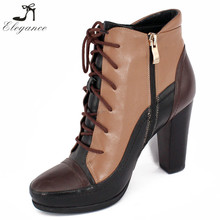 China Wholesale 2017 Winter Women Leather Multicolor Side Zipper Lace Up Steel Toe Platform Medium Block Heeled High Ankle Boots