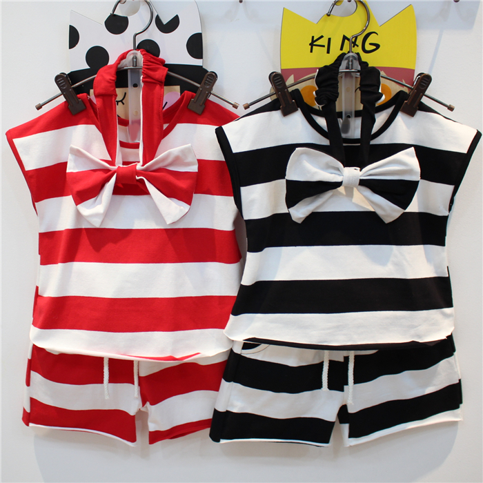 2017 Kids Stocks Cute Bowknot Girl Summer Sleeveless Stripes 3 Pcs Clothes/ Clothing