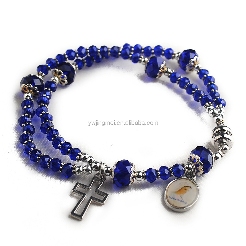 3*4 crystal flat beads wire rosary bracelet with medjugorje medal