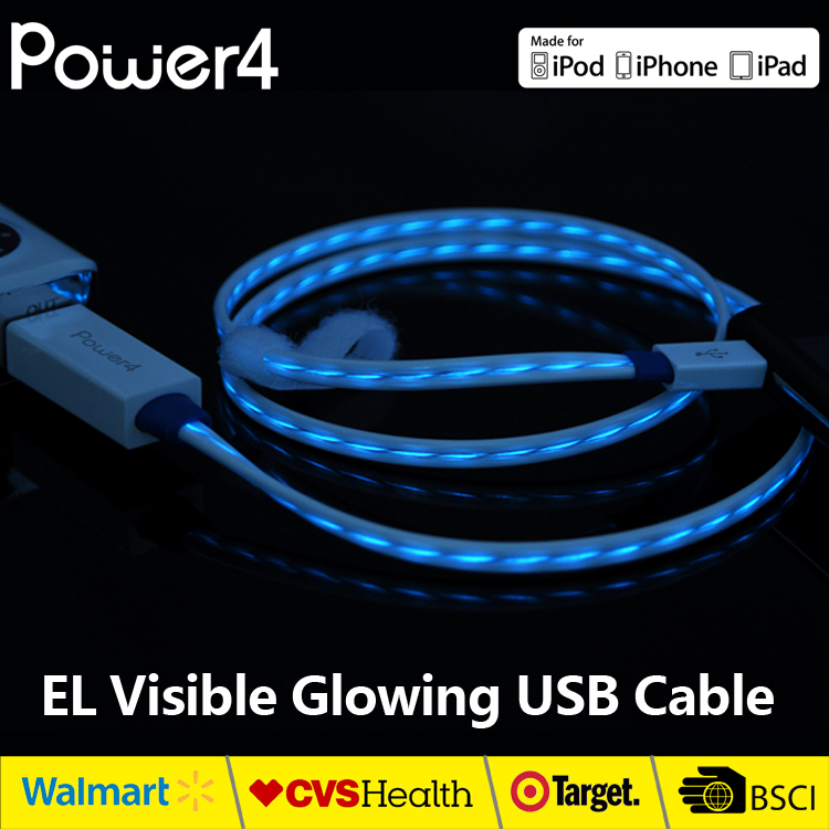 Wholesale MFi approved usb data cable fast charging cable with led light for iphone ipad ipod