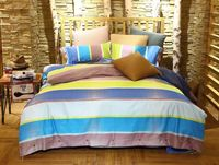 Ocean Blue Stripes 100% Egyptian Cotton Bedding Set