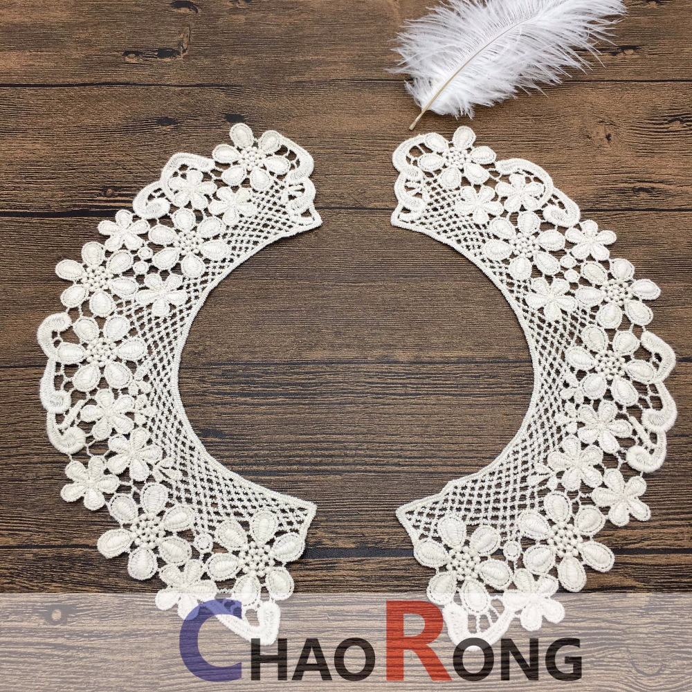 CRN 14163 OEM flower crochet cotton white neck lace embroidered collars