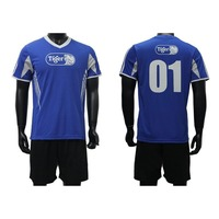 Custom new model cheap blue quick dry men soccer jersey with low MOQ