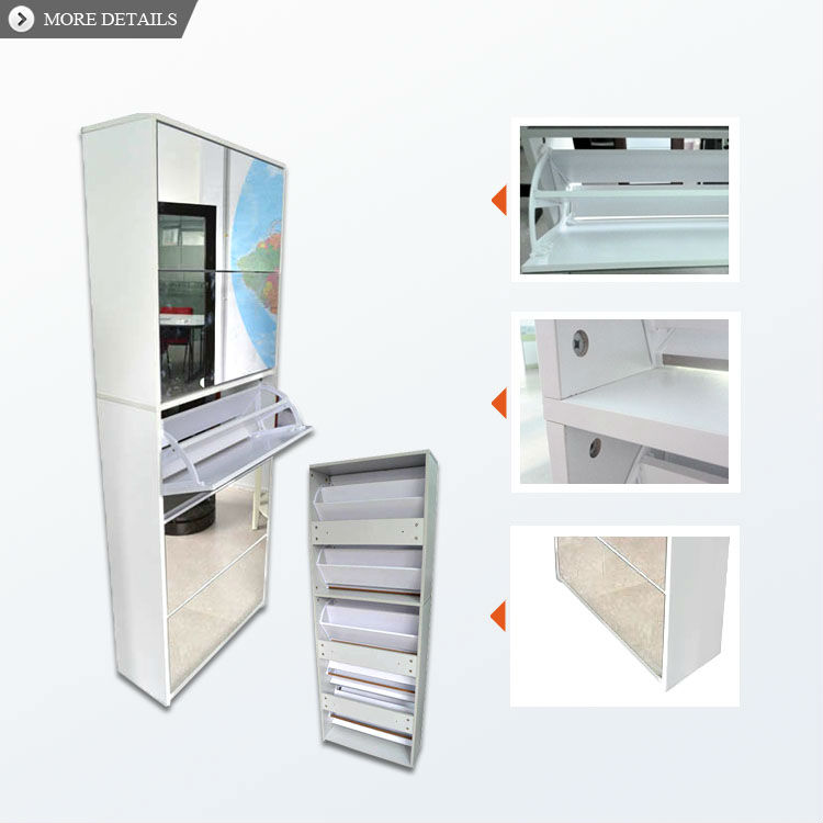 Morden MDF mirror shoe cabinet design mirror shoe racks